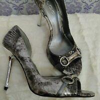 Aldo Silver Metallic Python Heels Womens 6 EUR 36 Vegan Peeptoe D'orsay Horsebit