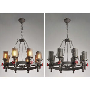 Industrial Steampunk Chandelier Iron Pipe Edison Bulb Ceiling Bar Light with ...