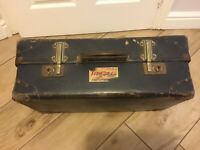 1930's  Cheney Expanding Compressed Fibre Suitcase. Art Deco Lining. Lion Brand