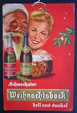 1950c publicidad en cartón CERVEZA SCHWECHATER Weihnachtsbock Brauerei Schwechat