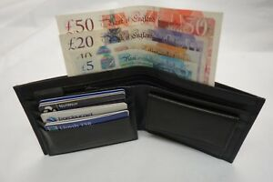 Top Quality Gents Soft Real Leather Wallet Top Brand with Id Flap Black