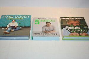 JOB LOT OF COOKERY BOOKS JAMIE OLIVER X 2, GORDON RAMSEY X1. HARDBACKS GOOD COND