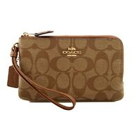 NWT COACH Double Corner Zip Wristlet Signature Canvas Wallet Khaki Saddle F87591