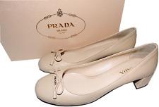 PRADA Cap Toe Low Heel Nude Leather Pump Bow Gold Logo SHoe 38.5- 8.5 Beige
