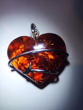 Russian Amber heart Pendent 925 Sterling Silver