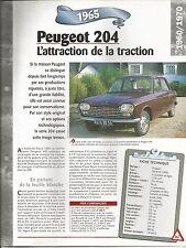 FICHE DESCRIPTIVE - TECHNIQUE - LA PEUGEOT 204 DE 1965