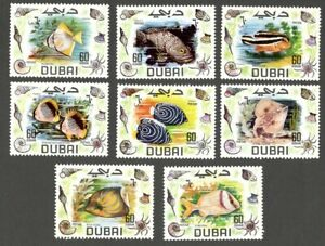 AOP Dubai 1969 Fish set of 8 MNH. Michel 345-52 Euro 16