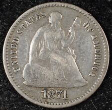 5 & 10¢ NIGHT! BEAUTIFUL, VF 1871 SEATED LIBERTY HALF DIME. NO RESERVE!