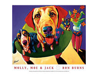 DOG ART PRINT - Molly, Moe & Jack by Ron Burns and 24x18 Cute Dogs Poster