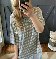 L New USA MADE Boho Grey Stripe Summer Blouse Tunic Top NWT Womens Size LARGE
