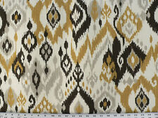 Drapery Upholstery Fabric Stain Repellant Linen Textured 100% Cotton Ikat - Gold