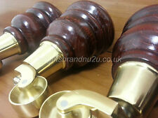 4x WOODEN FURNITURE LEG/FEET - BRASS CASTORS, CHAIRS, SOFAS M10(10mm) Fitting