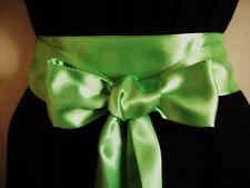 "2.5""X100"" BRIGHT NEON GREEN SATIN SASH FABRIC RIBBON BELT FOR PARTY PROM DRESS"