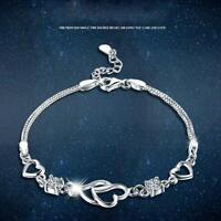 Sterling Silber Open Heart Armband Charm Schmuck Damen Damen Elegantes Geschenk