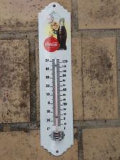 Thermomètre émaillé publicitaire COCA COLA émail véritable 800°C Fabr. en France