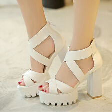 Womens Gladiator Stylish Chunky HIgh Heels Platform Hollow Out Sandals Shoes New