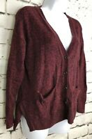 Madewell Cozy Red Marbled Heathered Pockets Cardigan Boyfriend Sweater XS