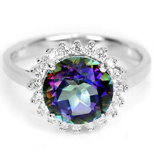Sterling Silver 925 Rainbow Colour Mystic Topaz Cluster Ring Size Q US 8.25