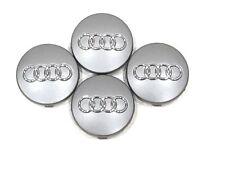 4 Pcs, Audi, Gray, Chrome Logo Center, Wheel Hub Cap, 60mm, A3, A4, A6, A8, S4