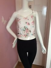 Gilly Hicks White Cream Floral Lace V Neck Cross Back Strappy Cropped Top XS 6