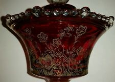 Antique Bohemian type Cranberry Etched Glass Beaded Covered Pedestal Dish