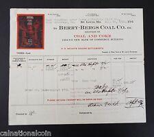 1910 Berry Bergs Coal Co. vignette letterhead invoice