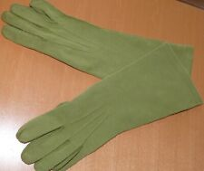 Olive Green 1940-50`s all hand sewn Gloves Cotton 7