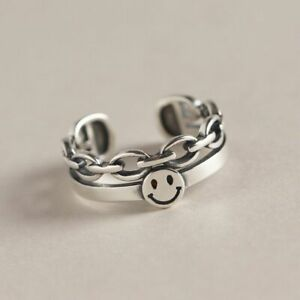 Vintage Smiley Face Adjustable Ring 925 Sterling Silver Women Girls Jewellery UK