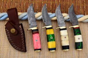 """6"""" MH KNIVES CUSTOM HANDMADE DAMASCUS STEEL LOT OF 4 HUNTING/SKINNER KNIFE LOT5E"""