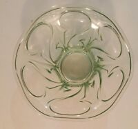 Early 20th C Vaseline ware Glass Bowl Art Nouveau Design glows under UV light