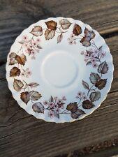 English Bone china single saucer brown Leaves