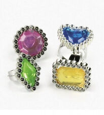 25 Colorful Rhinestone Rings Birthday Kids Party Favors Princess Girls Gift New