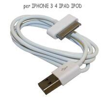 CAVO DATI PER IPHONE 4 4S 3 3GS IPAD IPOD TOUCH BIANCO 30 PIN
