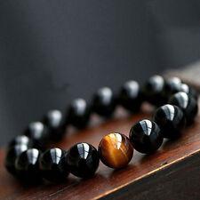 Herren Frauen Perlen Edelstein Armband Achat Tigeraugen Steine-Armkette.Buddha