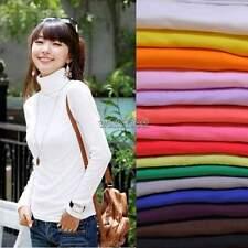 Neuer Frauen Milch seide Rollkragen Langarm T-shirt Oberteile Bluse Pullover WST