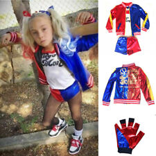 Kids Suicide Squad Harley Quinn Costume Girls Halloween Cosplay Fancy Dress Suit