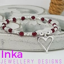 Inka 925 Sterling Silver & Ruby Agate Stacking Bracelet with Open Heart charm