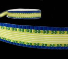 """5 Yds Yellow Blue Woven Embroidered Flower Striped Fancy Free Ribbon 7/8""""W"""