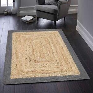 Runner Rug 100% Natural Jute Braided Style Carpet rustic look Modern Area Rug