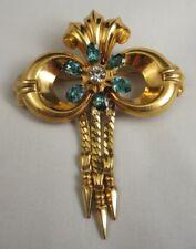 Vintage HI Signed Harry Iskin 1/20 12K Gold Filled Bow Brooch Aqua Rhinestones