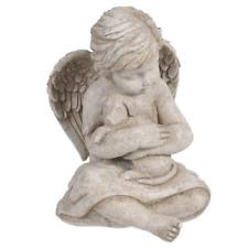 Garden Figurine Angel Cherub Sculpture With Dog Memorial Stone Puppy Statue New