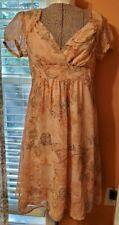 Women's Lined Pink Beige Dress w/ Puffed Sleeves by Apt. 9 Size 8