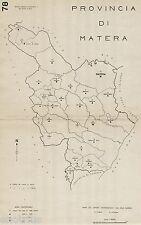 Provincia Matera:Tutti i Comuni nel 1938,Carta Topografica.Anno XVI Era Fascista