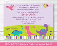 Girl Dinosaur Printable Baby Shower Invitation Editable PDF