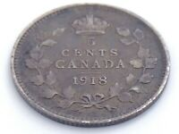 1918 Canada Five 5 Cent Small Silver Circulated Canadian George V Coin J595