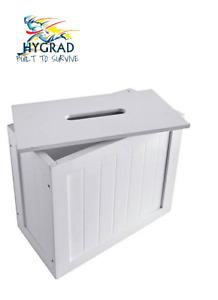 White Bamboo Wood Slimline Bathroom Tissue Rolls Spray Storage Unit Cabinet