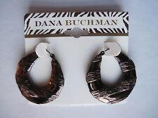 Dana Buchman Coppertone Brown Unique Textured Hoop Pierced Earrings, FREE S&H