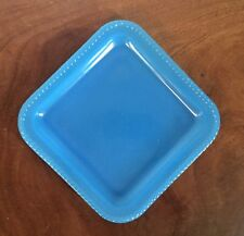 Vintage Peacock Blue Opaline Glass Square Plate Dish Platter Tray
