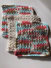 Handmade Cotton Dish Cloth, Washcloth crochet coral turquoise tan - set of 3
