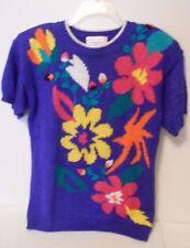 Vintage Jaclyn Smith Sweater 8 Blue Floral Acrylic Short Sleeve